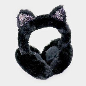 Black w Pink Furry Cat Ear Shimmery Earmuffs